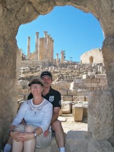 Di and Len at Jerash, Jordan