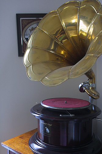 An old record player, playing the same old message over and over!